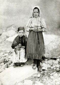 Jacinta and Lucia, two of three children to whom Our Lady of Fatima appeared.