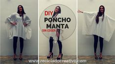 DIY Cómo hacer un Poncho Manta. Muy fácil y sin coser - How to make a Bl... Poncho Lana, Custom Clothes, Diy Clothes, Blanket Coat, Two Piece Outfit, How To Make Bows, Sewing, Youtube, Ikea Hackers