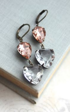 Vintage Rosaline Peach Clear Heart Faceted Earrings