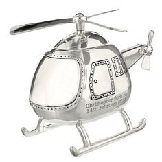 This silver plated Helicopter Personalised Money Box can be engraved with any message over 2 lines and up to 20 characters per line. Personalised Money Box, Personalized Piggy Bank