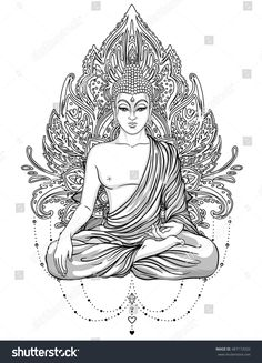 hippie tattoo 565694403192514019 - Sitting Buddha Statue over ornate mandala inspired pattern. Hippie tattoo, Thai god, yoga zen Coloring book pages for adults. Mandala Art, Mandala Tattoo, Lotus Tattoo, Tattoo Ink, Ganesha Tattoo, Buddhist Symbol Tattoos, Hindu Tattoos, Buddhist Symbols, Buddha Drawing