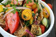Panzanella is a Tuscan salad that is packed with fresh summer flavor, along with the other love of my food life, bread!