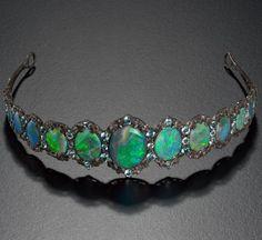 Tiara, Melbourne, Australia, c. 1925, silver, opal, aquamarine, 14.0 x 15.2 x 13.1 cm