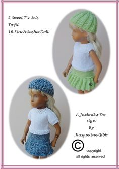 S6 Sasha Doll Sweet T's Sets pattern by Jacqueline Gibb: 1) http://www.ravelry.com/patterns/library/s6-sasha-doll-sweet-ts-sets 2) http://www.ravelry.com/dl/jacqueline-gibb-designs/423179?filename=S6_SASHA_DOLL_2_SWEET_T_S_SETS.pdf