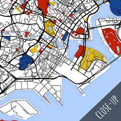 Singapore Map Art / Singapore Wall Art / Print / Poster /