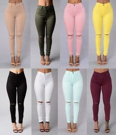 High Elastic Cotton Women's Black High Waist Torn Jeans Ripped Hole Knee Skinny Pencil Pants