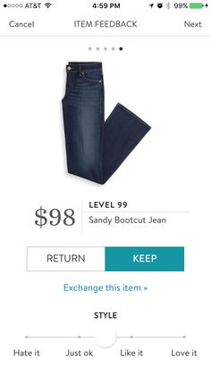 "Level 99 Sandy Bootcut Jean - I tried them one time, but SF sent it in too short.  Would like it in 30"" inseam."