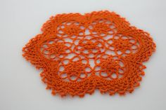 Handmade Tatting Lace Floral Coasters / Doilies. 100% Cotton. Pumpkin Orange Color. 6 Inch Round. Set of 4. >>> Unbelievable  item right here! : Kitchen Utensils and Gadgets