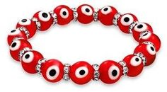 Bling Jewelry Evil Eye Glass Red Stretch Crystal Bracelet Silver Plated.