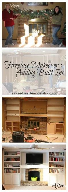 Fireplace Makeover, Adding Built ins using stock cabinets as the base featured on Remodelaholic.com #fireplace #builtins #fireplacebuiltins #remodeling