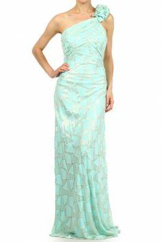 •#salediem #fashion #women'sfashion #maxi #longdress Metallic print, one shoulder, full length, maxi dress with ruffle shoulder strap, and low back