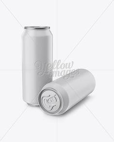 Two 500ml Aluminium Cans W/ Matte Finish Mockup