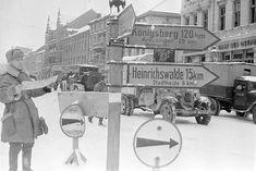 Советские войска на одной из центральных улиц Тильзита. 01 февраля 1945 г.