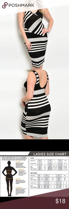 Plus Size Fitted Dress This dress is just as comfy as cut and sexy. It features starchy breathable fabric and a multi stripe pattern.    •95%rayon 5%spandex.    •this item comes new from manufacturer Zenobia Dresses Midi