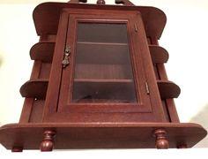 Vintage Solid Wood Curio Cabinet Wall Glass Door Brass 3 Tiers Excellent