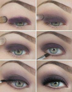 Maquillaje de ojos media noche, muy fino en tonos morados o violetas... combinación perfecta con unos ojos verdes!! middle nights