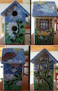 """per previous pinner: 1st mosaic birdhouse for the new """"Birdhouse Alley"""" in my friend's gardens"""
