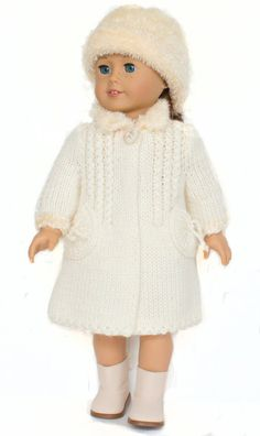 Uniquely styled and elegantly shaped, this is a sweet coat for your 18 inch doll like American Girl doll.  The A-line shaped coat is beautifully detailed with set-in sleeves, a small rectangular collar and button closure. The hemline also features decorative ribbing which looks like an embellishment and gives additional shaping to the coat. There are also round pockets for even more detail. The hat made of a cozy faux fur yarn finishes off the whole ensemble. It feels really soft and the fur…