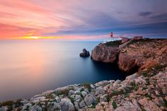 Beautiful photograph by Jorge Fonseca. The imposing Cape St Vincent Lighthouse in Sagres. Hundreds of tourists find their way to this spot every day to admire and photograpn one of the most breathtaking sunsets in the world #Algarve #Portugal