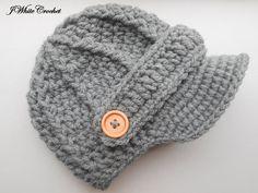 Sombrero de bebé de recién nacido gris oscuro, sombrero de vendedor de periódicos del ganchillo, sombrero del ganchillo bebé muchacho, muchacha del sombrero del ganchillo, sombrero del bebé recién nacido, sombrero del bebé del ganchillo