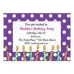 Purple and White Polka Dot Birthday Candles Invitations with pink, green, blue and yellow. Fun for a birthday party at any age! www.gem-ann.com (Zazzle store)