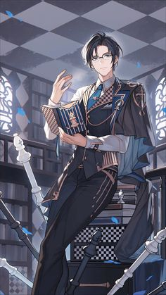 Anime Demon Boy, Manga Anime Girl, Anime Hair, Cool Anime Guys, Handsome Anime Guys, Hot Anime Boy, Anime Boys, Anime Glasses Boy, Manhwa