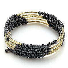 AdornMe Hematite & Diamond Cut Station Wrap Bracelet
