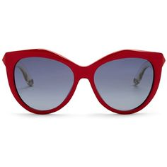 Givenchy Women's Retro Sunglasses (450 PEN) ❤ liked on Polyvore featuring accessories, eyewear, sunglasses, red cry re, givenchy glasses, givenchy, red lens glasses, red glasses and crystal glasses