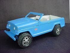 vTg Tonka Blue Jeep Jeepster Die Cast Metal Pressed Steel Toy USA
