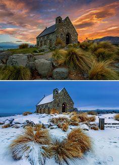 Church Of The Good Shepherd, Lake Tekapo, New Zealand Nz South Island, Lake Tekapo, New Zealand Art, Auckland New Zealand, Winter Is Here, Summer Winter, The Good Shepherd, Winter Photography, Great Photos