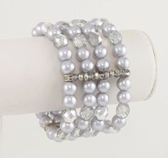 Silver Ep Faux Gray Pearl & Acrylic Bead Princess Stretch Bracelet
