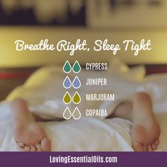 Cypress Diffuser Blends - Boost Mood & Breathe Easy! by Loving Essential Oils | Breathe Right, Sleep Tight with cypress, juniper, sweet marjoram, and copaiba essential oil. Get more blends PLUS our free printable cheat sheet with the recipes, just visit our blog post. #lovingessentialoils #diffuserblendswithcypress #diffuserblendsforsleep