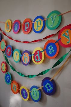 custom Happy Birthday banner with name----PRIMARY COLORS. $36.00, via Etsy.