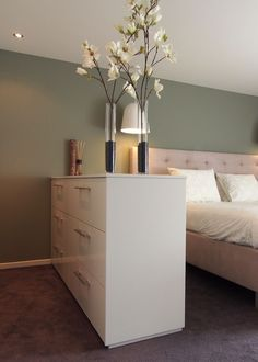 Home Bedroom, Master Bedroom, Green Bedroom Colors, Green Accent Walls, Bed Frame And Headboard, House Colors, My Room, New Homes, Room Decor