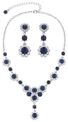 Set - Strass Blume / Blau - Bijou Brigitte Online-Shop