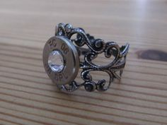 38 Special Bullet Ring with Clear Swarovski by JillsJewels4You