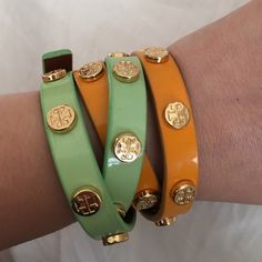 Tory Burch patent leather double wrap bracelet Golden rod color. One of my fave bracelets to wear. It's in great condition! I'm also selling two other colors as well, if you are interested! Tory Burch Jewelry Bracelets