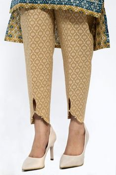 Zeenwome n Pants Embellished Cigarette Pants Kurta Designs Women, Kurti Neck Designs, Kurti Designs Party Wear, Dress Neck Designs, Salwar Designs, Plazzo Pants, Salwar Pants, Trouser Pants, Kurti Sleeves Design