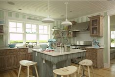 Beautiful kitchen island idea to add a homey feel to the heart of the home with some simple, yet hearty kitchen design ideas. Beach Cottage Style, Beach Cottage Decor, Coastal Style, Boston Interiors, Beautiful Beach Houses, Inside A House, Spa Like Bathroom, House Of Turquoise, Amai
