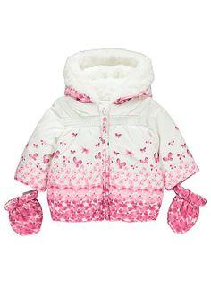Vauvan perhosprintti toppatakki ja hanskat Hoodies, Sweaters, Fashion, Moda, Sweatshirts, Fashion Styles, Parka, Sweater, Fashion Illustrations
