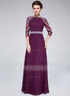 $158.99 - A-Line/Princess Scoop Neck Floor-Length Chiffon Tulle Mother of the Bride Dress With Ruffle Beading (008025372) http://jjshouse.com/A-Line-Princess-Scoop-Neck-Floor-Length-Chiffon-Tulle-Mother-Of-The-Bride-Dress-With-Ruffle-Beading-008025372-g25372