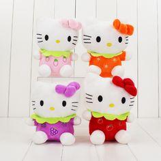 1Pcs Fruit Hello Kitty Cat Plush Toys 4 Colors Price for Girl Toys 18cm #Affiliate