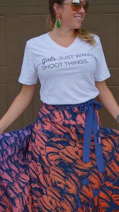 """""""Girls Just Wanna Shoot Things"""" White V-Neck Tee Graphic Tee - Gun Tshirt - Girl Trendy Shirt"""