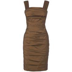 Phase Eight Barbara Pleat Dress, Mink ($85) ❤ liked on Polyvore