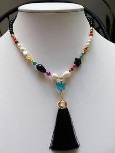 Tassel Necklace #fashionista #tassel #handmadejewelry #pearlsnecklace #fashionstyle