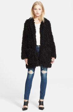 $595, Black Fur Coat: Smythe Mongolian Lamb Faux Fur Coat. Sold by Nordstrom. Click for more info: https://lookastic.com/women/shop_items/100704/redirect