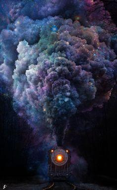 Just another night on the galactic railroad. Smoke Wallpaper, Pop Art Wallpaper, Galaxy Wallpaper, Wallpaper Backgrounds, Smoke Bomb Photography, Cute Photography, Trains, Train Art, Smoke Art