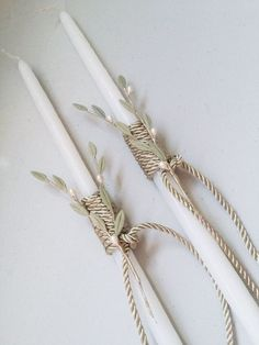 Greek thin wedding candle decor, lambades lambathes handmade candles with porcelain olive leaves pearls and silk cord wrapped decorations. Long thin white wedding candle known as lambades or lambathes will be a great decoration to your magical day. Decorated with porcelain olive leaves, pearls and Olive Wedding, Greek Wedding, Wedding Day, Christening Favors, Wooden Case, Handmade Candles, Wedding Favours, Pottery, Pearls