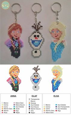 Anna, Olaf and Elsa keychains - Frozen Hama perler Perler Bead Designs, Hama Beads Design, Pearler Bead Patterns, Perler Patterns, Perler Beads, Perler Bead Art, Fuse Beads, Frozen Hama, Frozen Frozen
