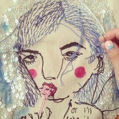 Teresa Lim - Close up work in progress jacket detail.